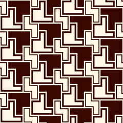 Seamless pattern with simple geometric ornament. Repeated creative puzzle mosaic background. Modern surface texture