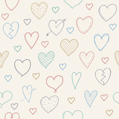 Cute sketch with hearts - seamless pattern. Valentine's Day, Woman's Day and Mother's Day. Vector.