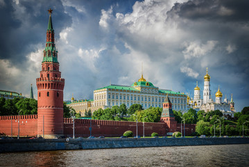 Russia, Moscow, view of the River, Bridge and the Kremlin
