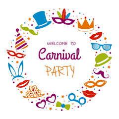 Carnival Party  - poster with funny decorations. Vector.