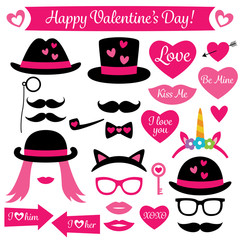 Photo booth props for Valentines Day, isolated design elements