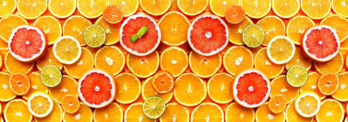 Citrus fruits background (orange, lemon, grapefruit, mandarin, lime). Food frame, vitamin concept, copy space, banner