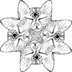 Illustration of a mandala with kittens. Black and white drawing.