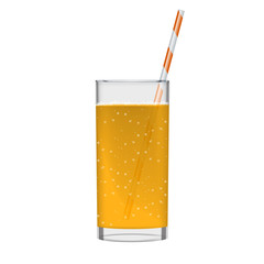Orange juice with smoothie glass and sparkling bubbles. Fruit organic drink. Transparent photo realistic illustration.