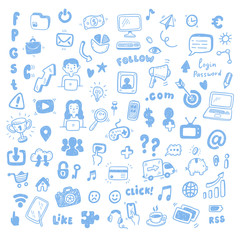 Social Media, digital marketing, internet network icons set. Vector hand drawn isolated objects. Doodle and sketch style .