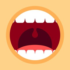 Open mouth with teeth and tongue. Screaming mouth cartoon in flat style. Vector Illustration