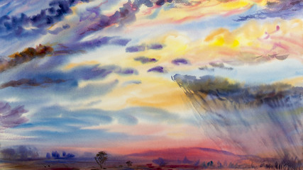 Watercolor painting landscape colorful of rain cloud meadow cornfield