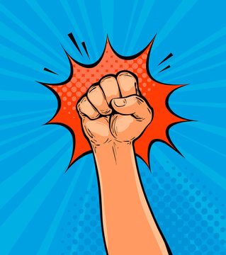 Raised up clenched fist drawn in pop art retro comic style. Cartoon vector illustration