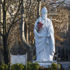 Valentine's Day patron of Terni city of Italy. statue of the holy bishop.