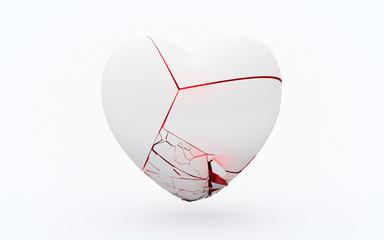 Weißes splitterndes gebrochenes Herz 3D Illustration