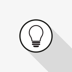 Vector icon light bulb with a long shadow on the background