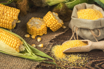 Fresh corn on cobs on rustic wooden table, top view. Dark wooden background freshly harvested organic corn. Corn grits in cloth sack. Shallow depth of field.