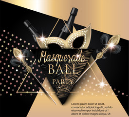 Beautiful masquerade banner with mask, bottles of champagne and triangles. Gold and Black. Vector illustration