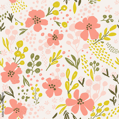 Great Nice Vector Seamless Flower Pattern. Endless Background Decorative  Elements. Modern Floral Texture.