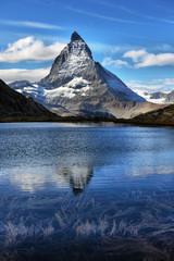 Mt Matterhorn reflected in Riffelsee Lake Zermatt Canton of Valais