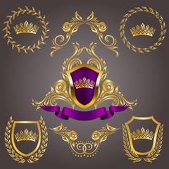 Set of golden royal shields with floral elements, ribbons, laurel wreaths for page, web design. Old frame, border, crown in vintage style for monograms, label, emblem, badge, logo. Illustration EPS10