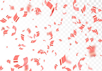 Falling shiny red confetti isolated on transparent background.Bright festive tinsel of pink color.