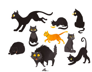 Set of black and red cats eating, sitting, sleeping, playing and mouse-hunting, flat cartoon vector illustration isolated on white background. Cat characters playing, sitting, sleeping and hunting