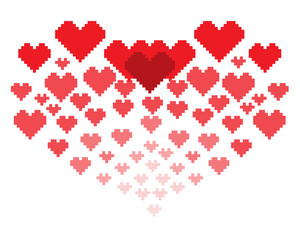 An illustration in the form of a pixelated hearts