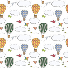 Seamless vector pattern, hand drawn hot air baloons flying in the blue sky, pattern for backgrounds, wrapping paper, fabrics and other designs