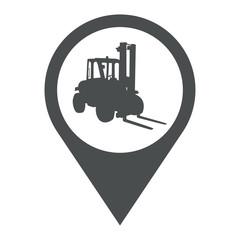 Icono plano localizacion silueta carretilla gris
