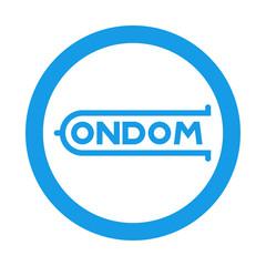 Icono plano logotipo CONDOM en circulo color azul