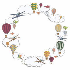Vector round banner with hot air baloons flying in the sky with place for your text, vector frame