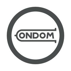 Icono plano logotipo CONDOM en circulo color gris
