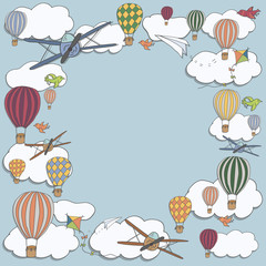 Vector square banner with hot air baloons flying in the sky with place for your text, vector frame