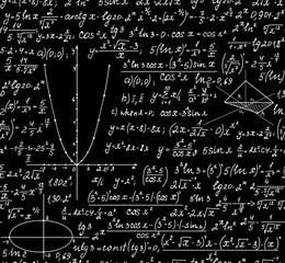 Math vector seamless background with handwritten mathematical formulas, calculations, plots
