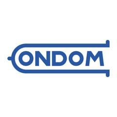 Logotipo CONDOM azul en fondo blanco