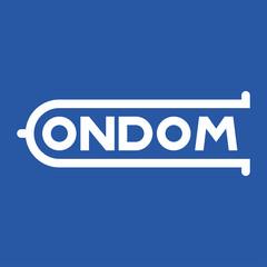 Logotipo CONDOM blanco en fondo azul