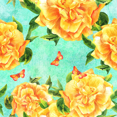 Seamless watercolor yellow rose pattern on teal with butterfly