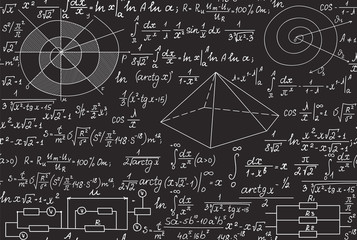 Mathematical vector seamless pattern with geometrical figures, formulas, equations, handwritten on a grey blackboard. Endless scientific texture