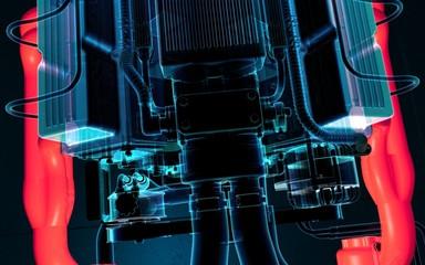 Motor Turbolader Hitze 3D Illustration