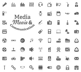 Media, Music and Communication letter icon. Media, Music and Communication vector illustration icon set. Set of universal icons. Set of 64 icons