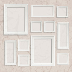Retro realistic photo frame on white background. Vintage template vector illustration. Template photo design.