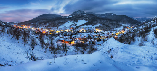 Night at Winter with beautiful village, Slovakia