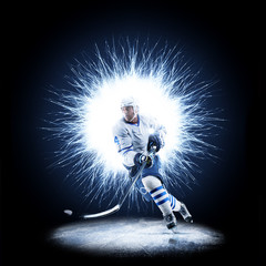 Ice Hockey player is skating on a abstract background