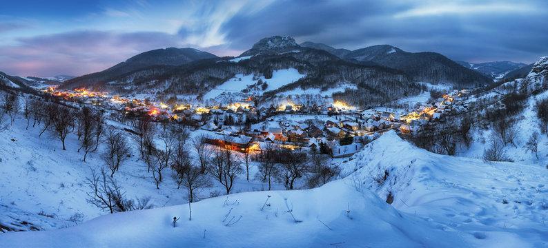 Night at Winter with beautiful village, Slovakia