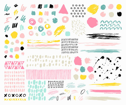 Set of hand drawn scribbles vector.