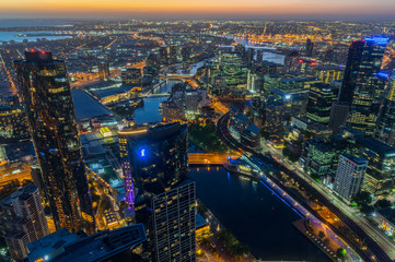 Aerial view of Melbourne along the Yarra River towards Docklands