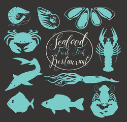 Vector set of drawings of underwater inhabitants on the theme of seafood, with handwritten inscriptions on black background in retro style