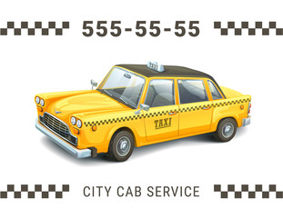 Taxi service design. Detailed illustration of yellow taxi car on white background. Banner, poster business card or flyer.