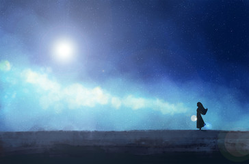 The girl stands against the background of the starry sky. Digital painting.