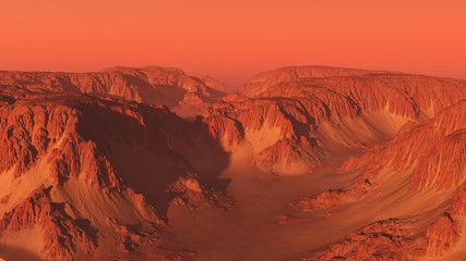 Papiers peints Corail Mountain Canyon Landscape on Mars with Red Sky - science fiction illustration
