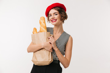 Portrait of a cheerful woman wearing beret
