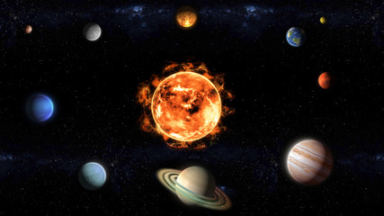 The Sun and planets of the Solar System illustration, elements of this image furnished by NASA