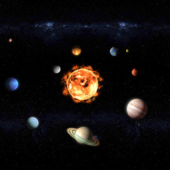 solar system sun and planets galaxy illustration, elements of this image furnished by NASA