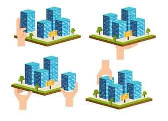 Real estate building. Constraction development company vector
